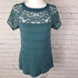 Anthropologie Meadow Rue turquoise lace tee shirt